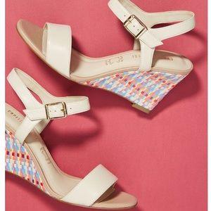 🆕NIB multicolored raffia wedge leather sandals
